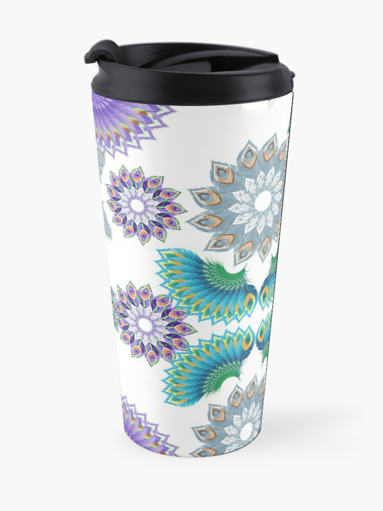 Alternate view of Grey, Turquoise and Purple Abstract Peacock Feathers Spiral Pattern Travel Mug
