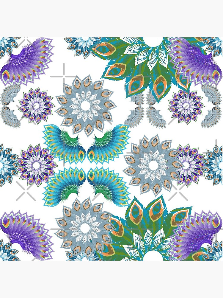 Grey, Turquoise and Purple Abstract Peacock Feathers Spiral Pattern by uniiunMB