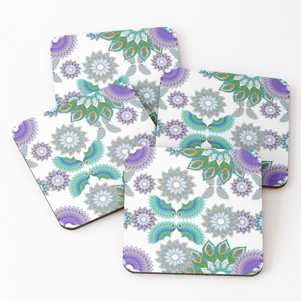 Grey, Turquoise and Purple Abstract Peacock Feathers Spiral Pattern Coasters (Set of 4)