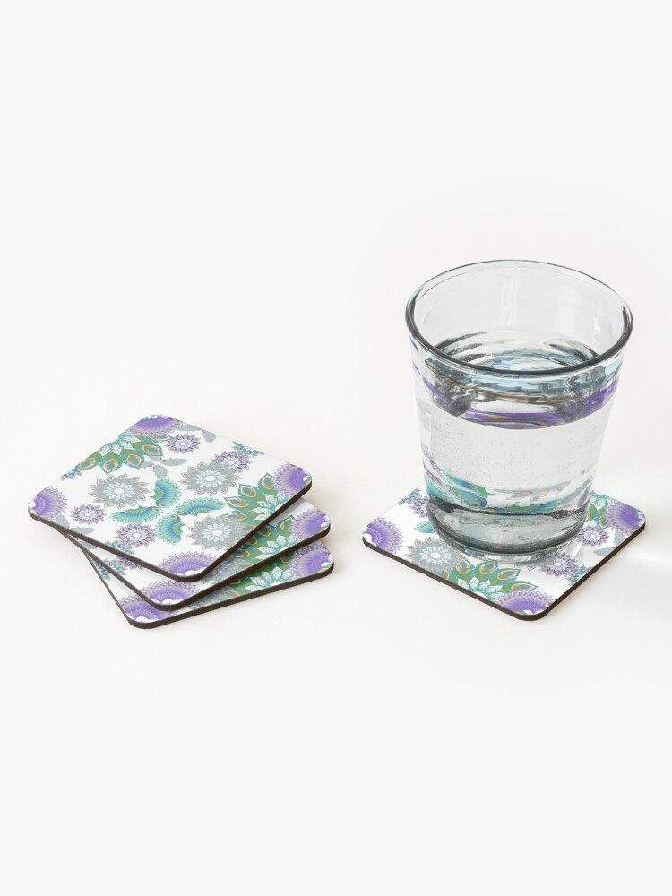 Alternate view of Grey, Turquoise and Purple Abstract Peacock Feathers Spiral Pattern Coasters (Set of 4)