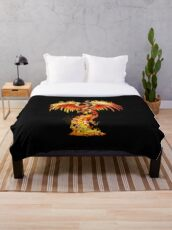Fantasy Orange Fire Phoenix Rises From The Fiery Ashes Throw Blanket