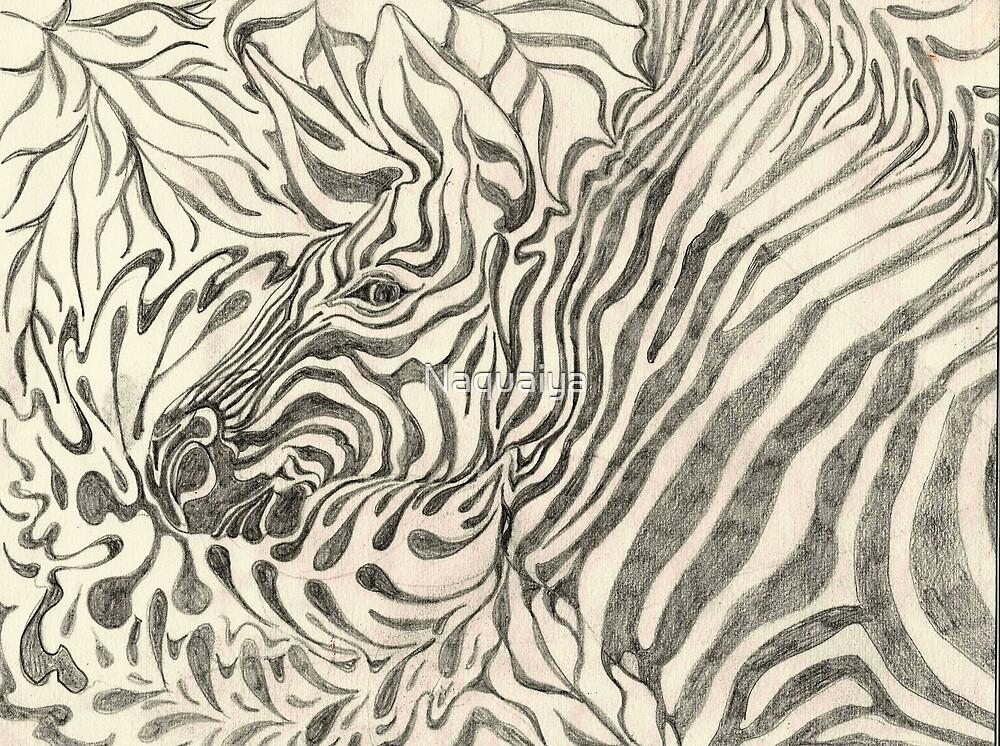 Zebra portrait in graphite camouflage art modern design by Naquaiya