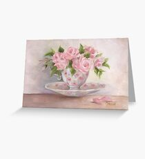 cup and saucer floral rose oil painting Greeting Card