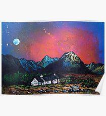 The Black Rock Cottage, Glen Coe, Scottish Highlands. Poster