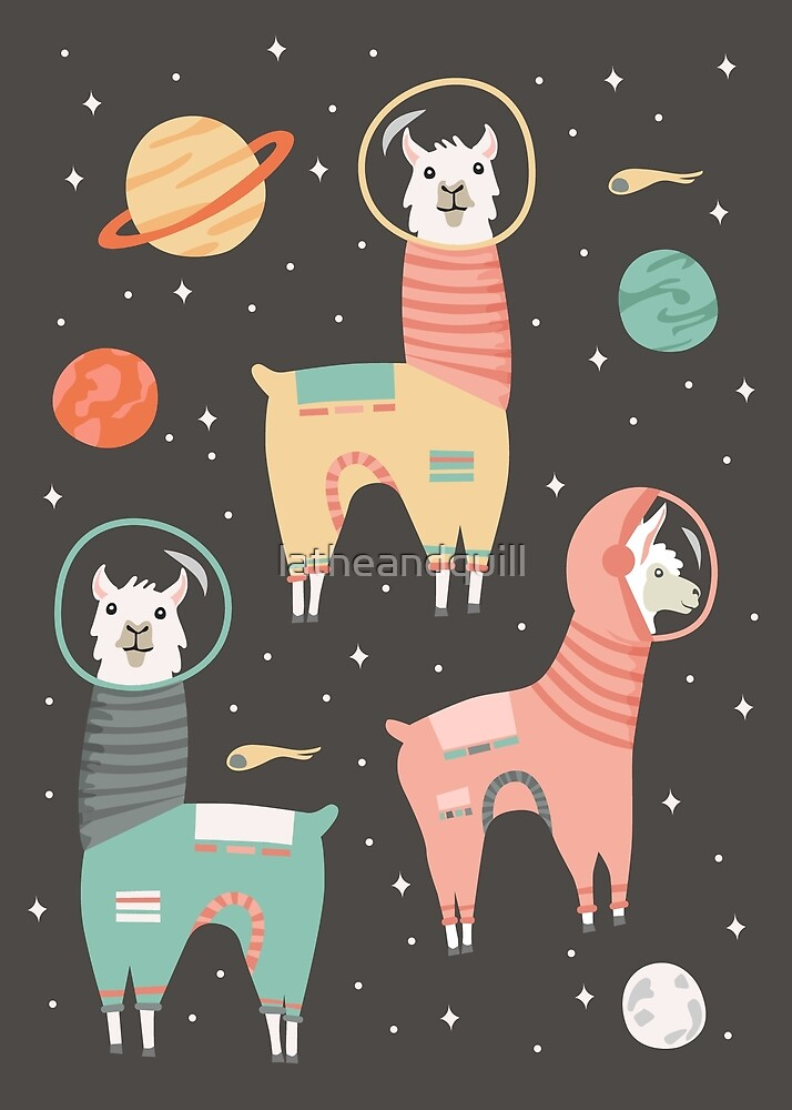 Astronaut Llamas in Space by latheandquill