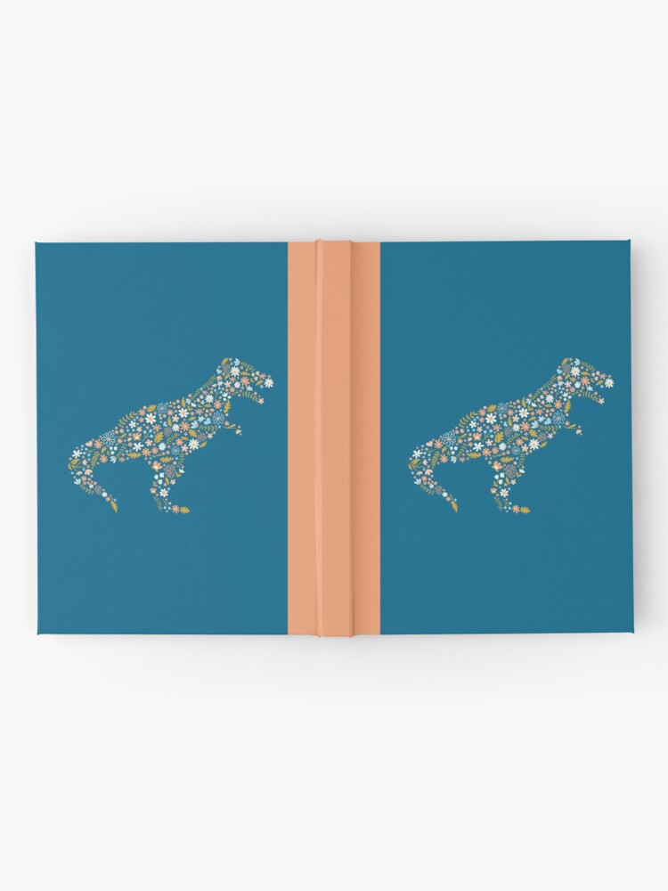 Alternate view of Floral T-Rex in Blue + Coral Hardcover Journal