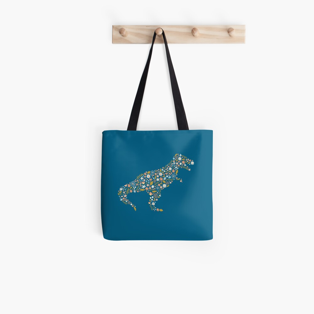 Floral T-Rex in Blue + Coral Tote Bag