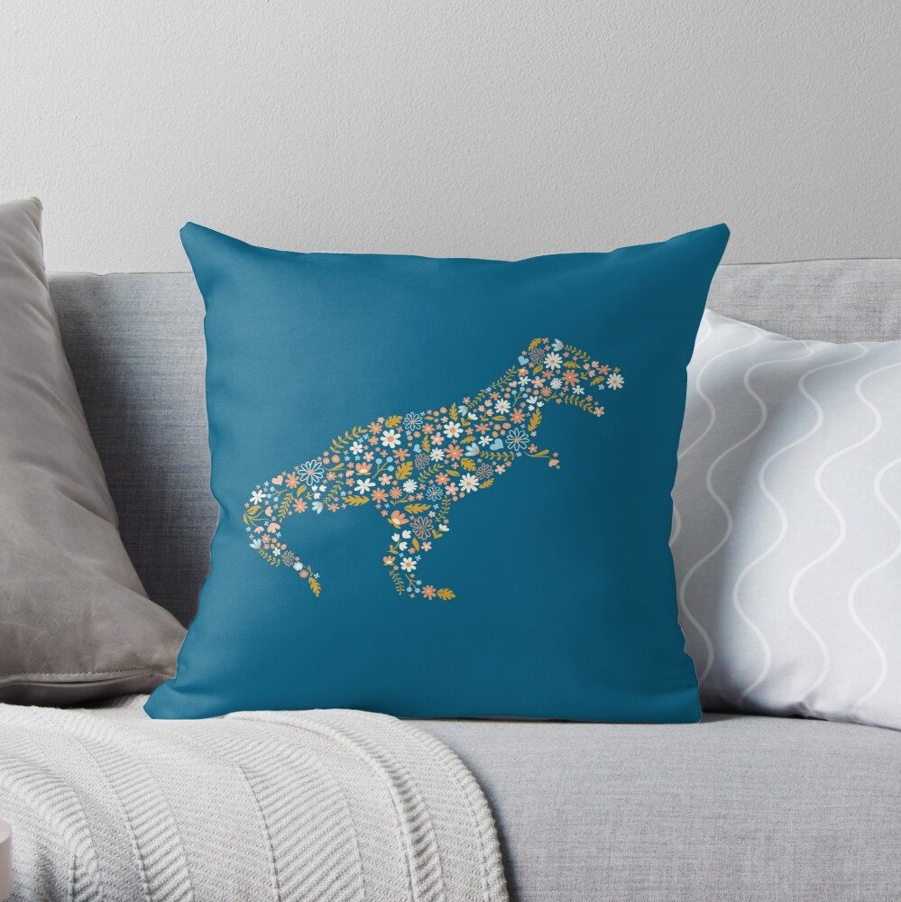 Floral T-Rex in Blue + Coral Throw Pillow