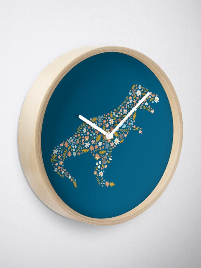 Alternate view of Floral T-Rex in Blue + Coral Clock