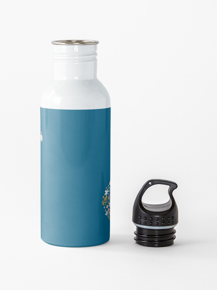 Alternate view of Floral T-Rex in Blue + Coral Water Bottle