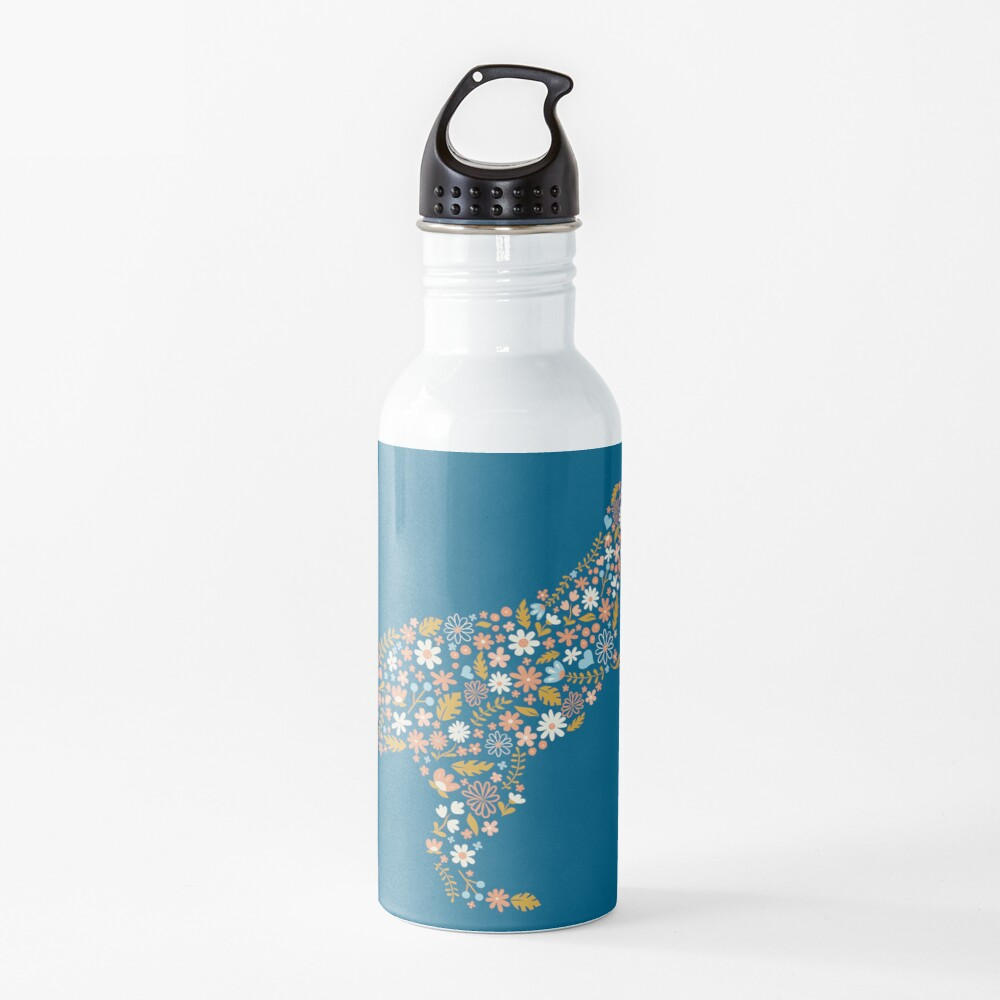 Floral T-Rex in Blue + Coral Water Bottle
