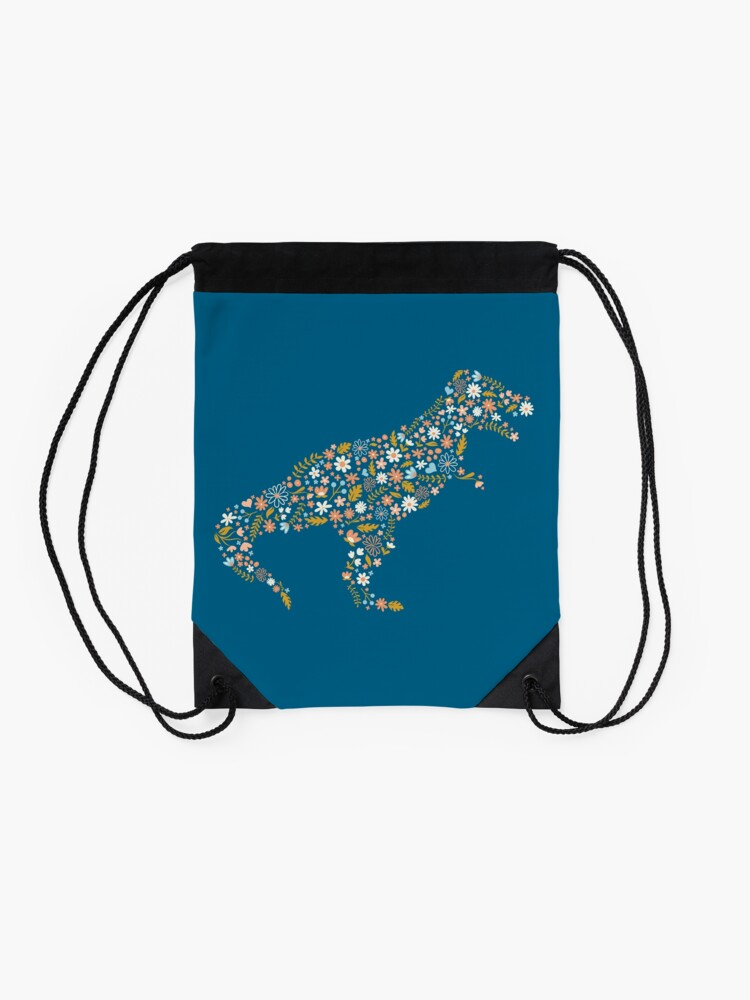 Alternate view of Floral T-Rex in Blue + Coral Drawstring Bag