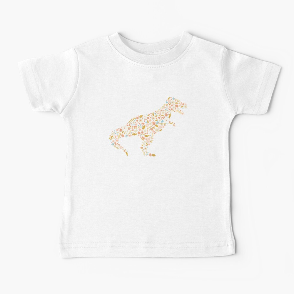 Floral T-Rex in Blue + Coral Baby T-Shirt
