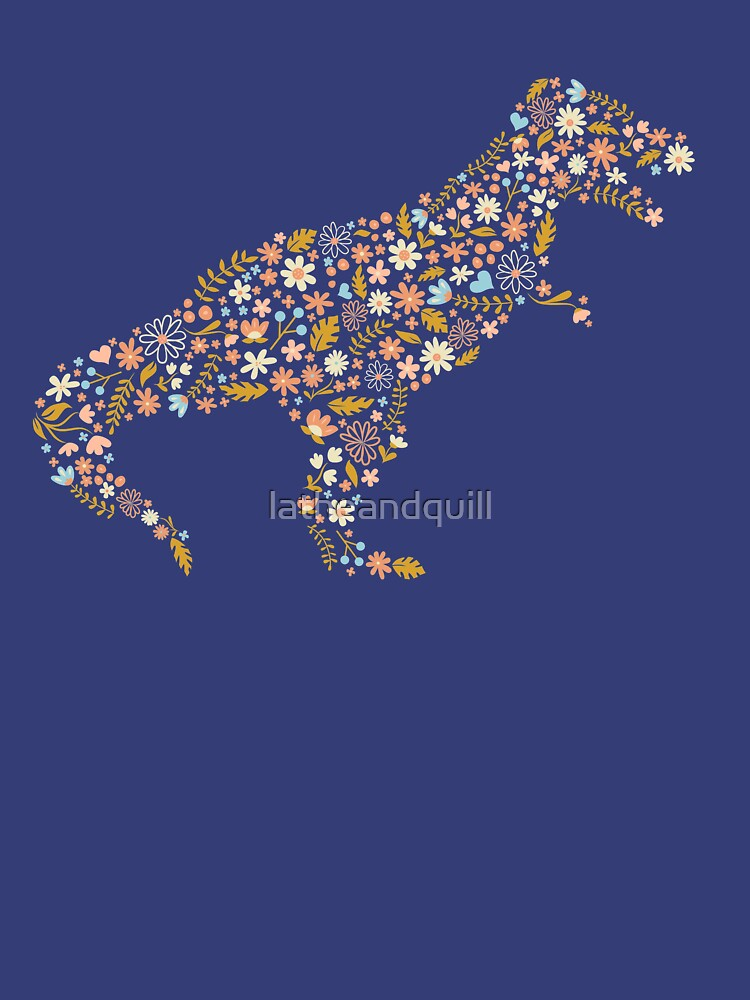 Floral T-Rex in Blue + Coral by latheandquill