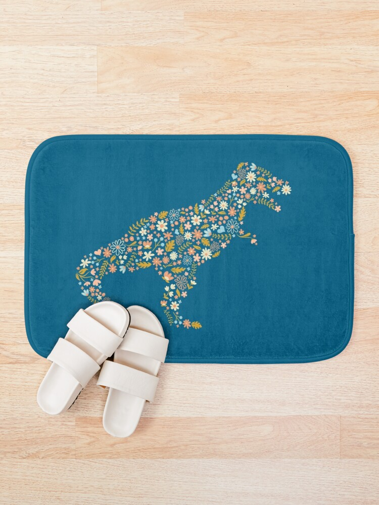 Alternate view of Floral T-Rex in Blue + Coral Bath Mat