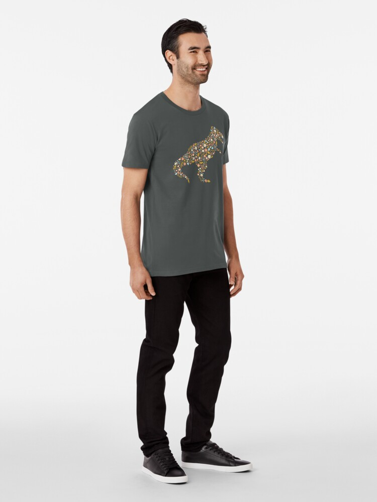 Alternate view of Floral T-Rex in Blue + Coral Premium T-Shirt
