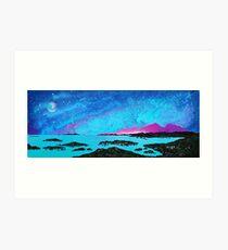 Moon Light Over Rum And Sanna Bay, Ardnamurchan Peninsula.40 Art Print