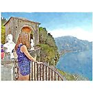 Ravello: Villa Cmbrone landscape with woman by Giuseppe Cocco