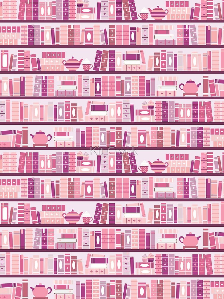 Pink Bookcase Pattern Romance Tea Books by rubyandpearl