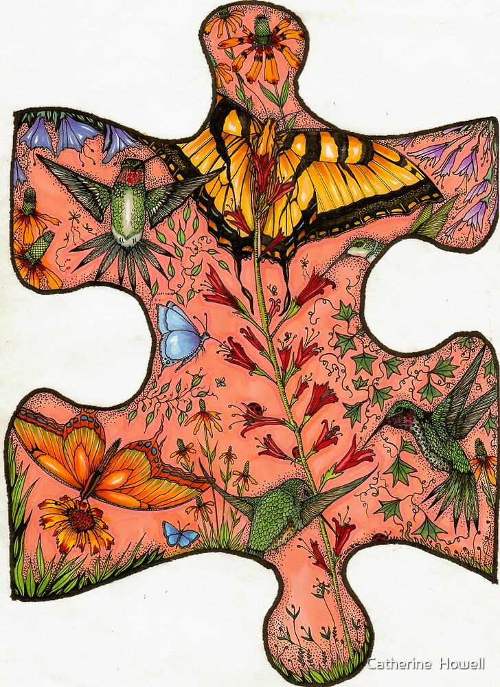 """Puzzle Collaboration Piece """"Just another piece in the puzzle of life"""" by Catherine  Howell"""