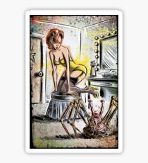 Pin Up, Girl, The Thing, Art, Print, Spider, Head, 50's, Elvgrin, Elvgren, John Carpenter, Dressing Room, Joe Badon, illustration, drawing, sexy, horror Sticker