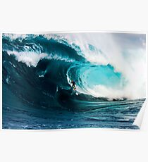A surfer takes on Shipstern Bluff Poster