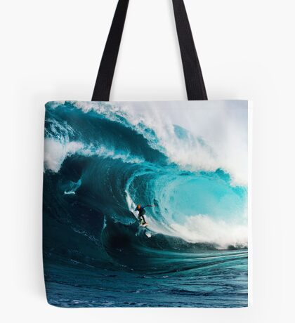 A surfer takes on Shipstern Bluff Tote Bag