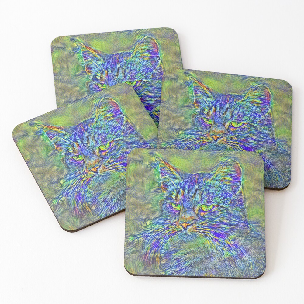 Artificial neural style Post-Impressionism cat Coasters (Set of 4)