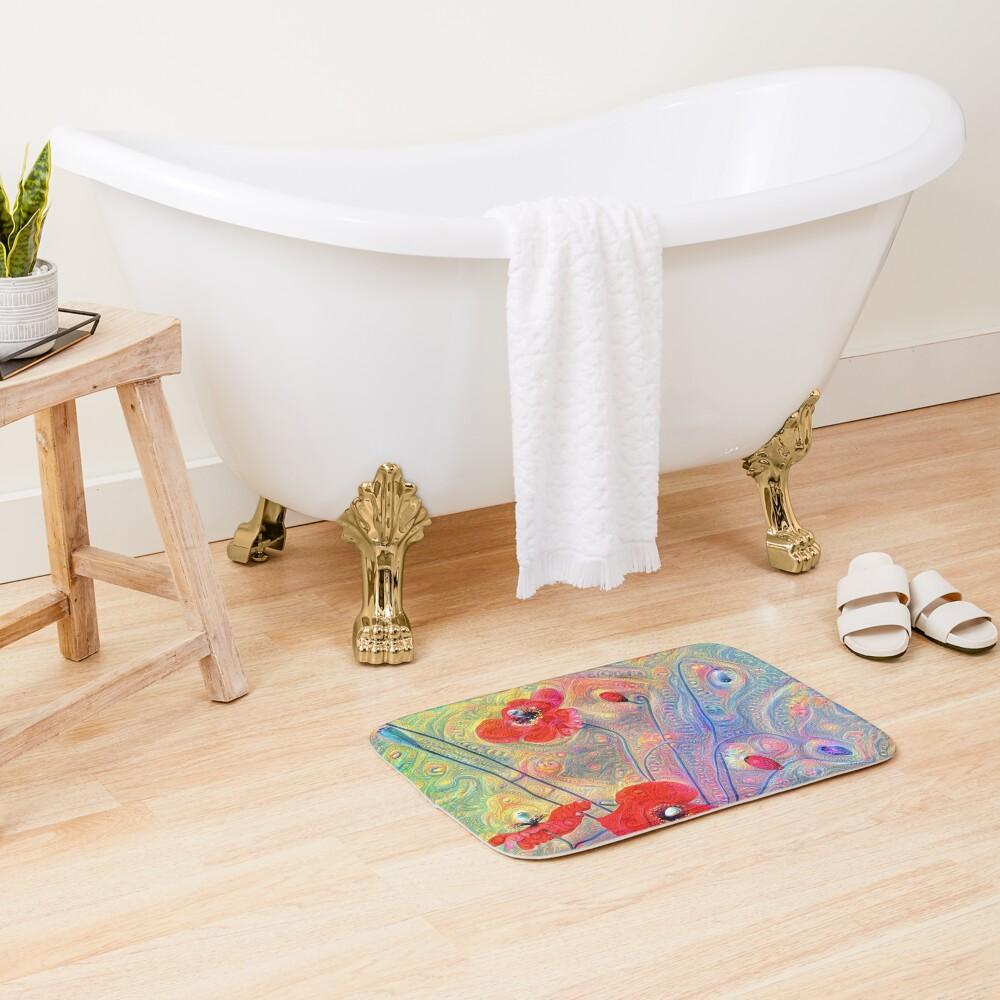 #Deepdreamed Poppies Bath Mat
