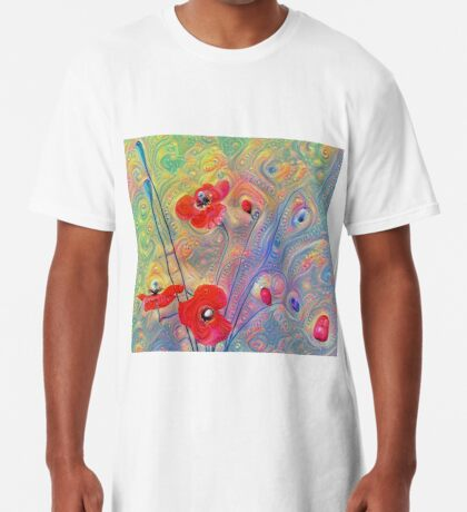 #Deepdreamed Poppies Long T-Shirt