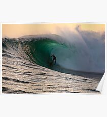 Sandy Ryan in a massive barrel at Shipstern Bluff in Tasmania Poster