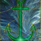 Glass Anchor: stained-glass style fluid acrylic painting digital art by kerravonsen