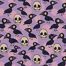 Halloween Ravens and Skulls on Ultraviolet by carabara