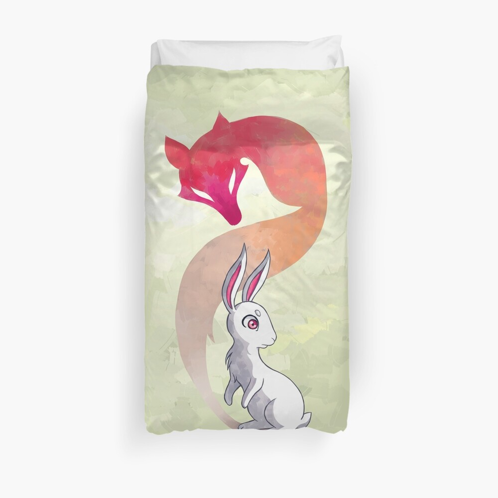 Rabbit and a Fox Duvet Cover