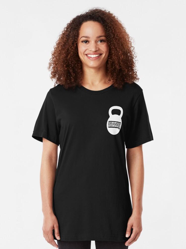Alternate view of White Kettlebell Logo for Granger Fitness and Defense Slim Fit T-Shirt