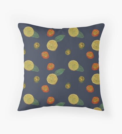 Chilli and Lemon Blue Throw Pillow