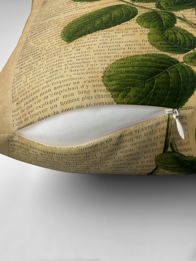 Alternate view of Botanical print, on old book page - flowers - roses Throw Pillow