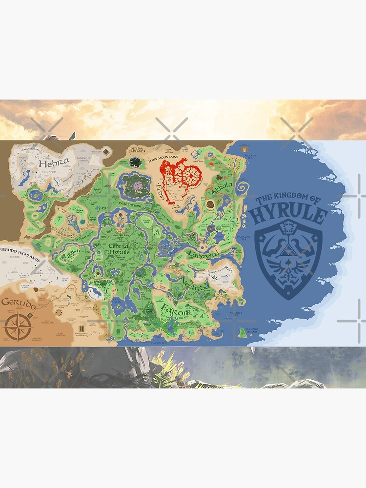 The Legend Of Zelda Breath Of The Wild Map Poster Wall Tapestry Art Board Etc Art Board Print By Apexartz
