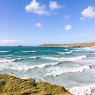 Waves riding in at Gwithian Sands, Cornwall, UK by Zoe Power