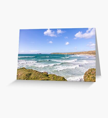 Waves riding in at Gwithian Sands, Cornwall, UK Greeting Card