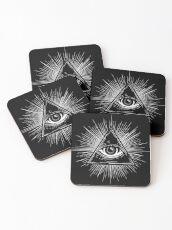 Illuminati Occult Pyramid Sigil Coasters