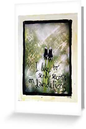 I Like to Send Secrets on Dandelions mixed media by DanielleQ