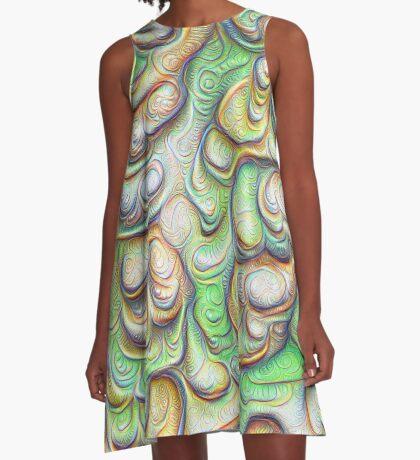 Frozen liquid green stones #DeepDream #Art A-Line Dress