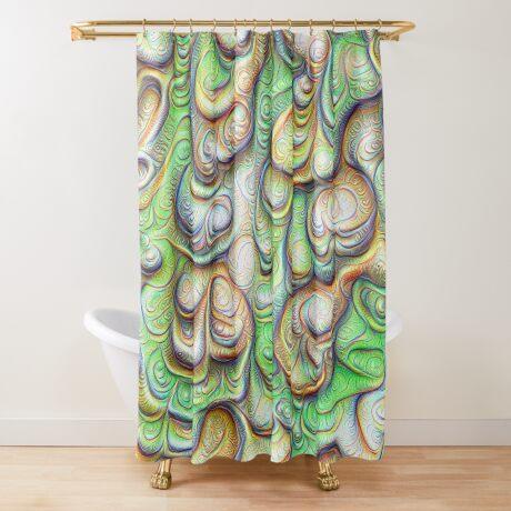Frozen liquid green stones #DeepDream #Art Shower Curtain