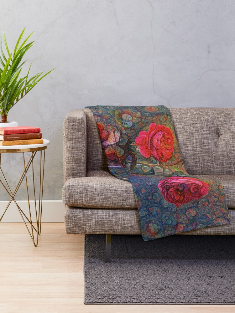Alternate view of Roses #DeepDreamed Throw Blanket