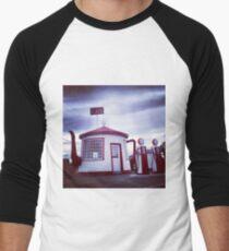 Tiny Old Fashion Teapot Gas Station Men's Baseball ¾ T-Shirt