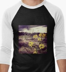 Fallen Log with Wildflowers Beside Riverbank Men's Baseball ¾ T-Shirt