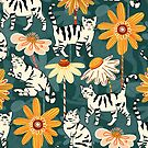 Daisy Cats - Navy  by TigaTiga