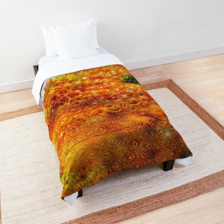 #DeepDreamed Frozen Orange Comforter
