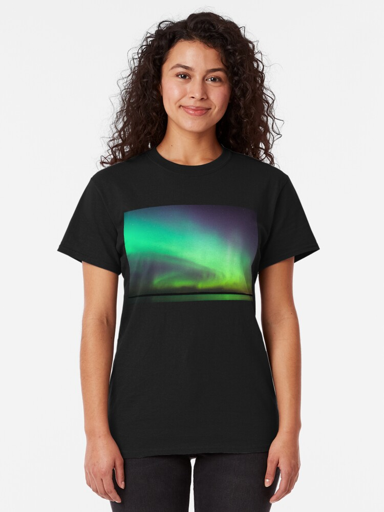 Alternate view of Northern lights over lake in Finland Classic T-Shirt